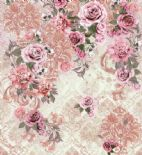 Blumarine Home Collection No. 2 Wallpaper Panel Rose Antiche Crystal BM25201 or 25201 By Emiliana For Colemans